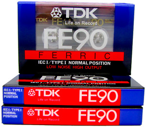 3 X TDK FE90  90 Minutes Blank Audio Media Recording Cassette Tapes - NEW