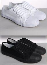 Blanco O Negro De Lona Con Cordones Zapatillas Hombre Mujer Plimsolls NUEVO