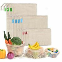 Reusable Cotton Mesh Produce Bag Vegetable Fruit Grocery Storage Shopping Bags