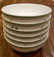 """* Set of 6 * Lenox HOLIDAY GATHERINGS Berry 6-3/4"""" All Purpose Cereal Bowls Bowl"""
