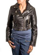 Mens Brown Tan Real Lambskin Leather Smart Motorbike Brando Dubble ZIPPED Jacket Black 2xl