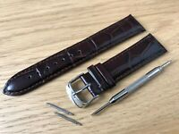 For SEIKO Watch Brown Genuine Leather Strap Band Buckle Clasp Mens Ladies