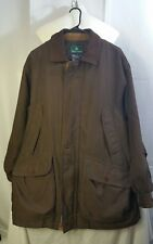 Men's Rainforest Coat Small Brown Leather Collar Removable Flannel Liner Zipper