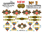 Enterprise MFG. Co.  No. 2  Coffee Grinder Mill Restoration Decals Decal Set