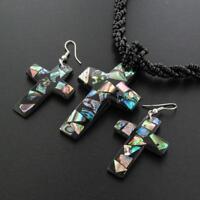 PAUA ABALONE CROSS BLACK SEED BEADS necklace & earring SET