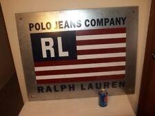 Vtg LARGE RALPH LAUREN POLO JEANS COMPANY RL FLAG GALVANIZED METAL STORE SIGN