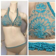 Victoria Secret Two Piece Bikini Beige and Turquoise Embroidered Crochet Size 10