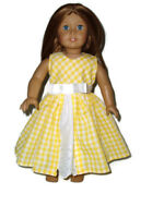 """Yellow Gingham Spring Dress Fits American Girl 18"""" Doll Clothes"""