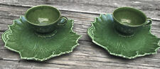 Vintage Cup Saucer Snack Set Woodfield Steubenville Majolica Green Pottery