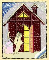 1930s French Pochoir Laboccetta Print Art Deco Winterscape Harlequin In Love