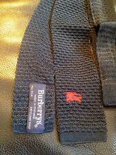 "BURBERRYS' silk navy blue knit necktie made in England 54"""