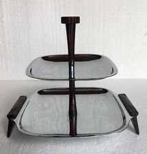 Mid-Century Glo-Hill 2 two Tier Serving Tray Chrome Cherry Red Bakelite