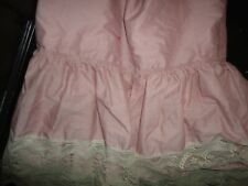 "VINTAGE CROSCILL PRISCILLA ROSE PINK LACE (1) QUEEN BEDSKIRT 13"" DROP SPLIT"