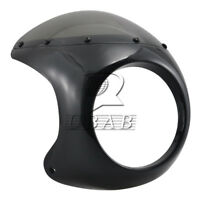"7"" Universal Motorcycle Headlight Retro Cafe Racer Handlebar Fairing Windshield"