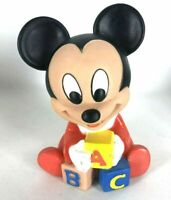 Vtg 1984 WALT DISNEY CO Shelcore MICKEY MOUSE Squeaky Rubber Toy Doll ABC Blocks