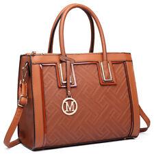 Women Designer Grain Square Brown Handbag PU Leather Tote Shoulder Bag