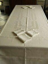 Linge ancien Nappe en lin + 6 Serviettes avec broderies ( 293 x 167 cms )
