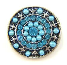 Noosa Style Chunks Snap Button Charms Chunk Charm Snaps Beaded Aqua 18mm 004