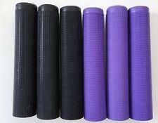 6 New Tacki-Mac serrated rubber racquetball grips, 3 black, 3 purple.