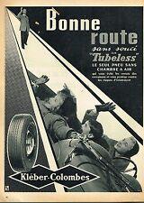D- Publicité Advertising 1955 Les Pneus Tubeless Kléber-Colombes