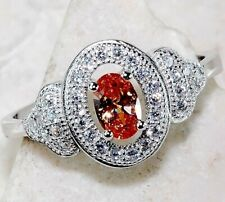 Top Quality 1CT Padparadscha Sapphire & Topaz 925 Sterling Silver Ring Sz 7, M2