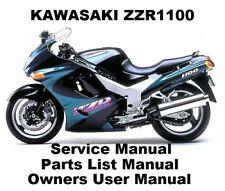 ZZR1100 ZX-11 NINJA 1100 Workshop Service Repair Owners Parts Manual PDF on CD-R