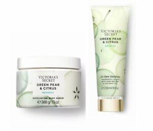 Victoria's Secret Green Pear & Citrus Refresh Fragrance Lotion & Body Scrub 2 Pc
