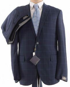 Corneliani NWT Suit Sz 42R Blue W/ Light Blue Windowpane Stretch Dynamic $2,295