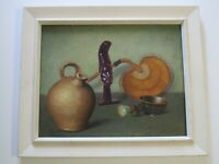 FINEST CLAUDE BUCK PAINTING STILL LIFE ANTIQUES STATE SCULPTURE RELIC POT JUG