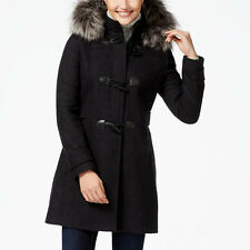 NAUTICA $245 NEW 1729 Faux Fur Trim Hood Wool Blend Duffle Womens Jacket Coat XS