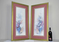 Pair of Lena Liu signed & numbered floral prints nicely framed flower diptych