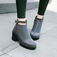 Fashion Womens Faux Leather Buckle Strap Platform Chunky Heels New Ankle Boots