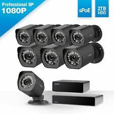 Zmodo 8CH NVR sPoE Repeater Full 1080p Outdoor Security Camera System 2TB HDD