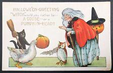 Unused 1900s Whitney Spooky Embossed Halloween Postcard W/Witch Pumpkin Owl Cat