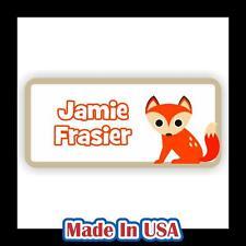 42 Personalized Waterproof Fox Name Labels Stickers Kids Children Bottle School