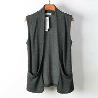 Mens Vest Waistcoat Cardigans Jacket Sleeveless Tops Outwear Casual Pocket Solid