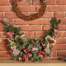 Decorated Classic Green Artificial Nordic Christmas Wreath Table Garland Décor