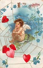 Signed Clapsaddle c. 1910 St. Valentine's Greeting, Angel Cupid in Loves Web