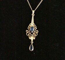 Antique Sapphire & Seed Pearl 10K Yellow Gold Victorian Lavalier Necklace