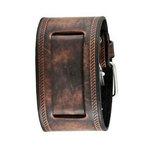 Nemesis BUIN Brown Wide XL Leather Cuff Watch Band 24mm