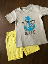 Boy short set New Size 4 Nautical Appliqué Gray/yellow/blue Fun Wear