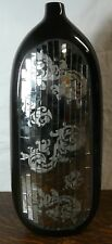 Black Vase w/Mirrors & Floral Patterns 16""