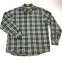 LL Bean Mens Large Blue Plaid Flannel Long Sleeve Button Down Shirt
