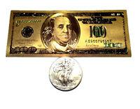 1 TROY OUNCE .999 FINE 2017 AMERICAN SILVER EAGLE BU + 99.9% 24K GOLD $100 BILL