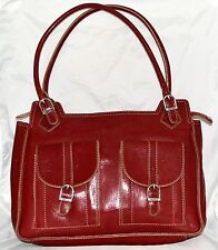 Maxx New York Burgundy & White Stitching Leather Shoulder Bag with Buckle Design