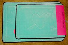 BETSEY JOHNSON - Blue HEART - 2 piece MEMORY FOAM Designer BATH MATS / RUGS *NEW