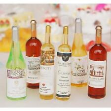 Set of 6Pcs Miniature Colorful Wine Bottles 1:12 Dollhouse Accessories Decor