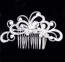Bridal Jewelry 92t Pageant Bridal Wedding Silver Plated Crystal Swan Heart Tiara W/ Comb