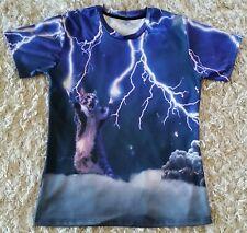 AIdeaOne Colorful Purple Cotton Spandex Cat & Lightning Bolts Tee Shirt, Sz LG