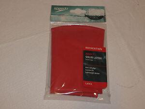 Speedo Recreation Adult solid latex swim cap 71239 006 red anti-roll edge NEW